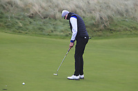 Paul Costello (Cregmore Park) on the 12th green during Round 2 of the Ulster Boys Championship at Portrush Golf Club, Portrush, Co. Antrim on the Valley course on Wednesday 31st Oct 2018.<br /> Picture:  Thos Caffrey / www.golffile.ie<br /> <br /> All photo usage must carry mandatory copyright credit (&copy; Golffile | Thos Caffrey)