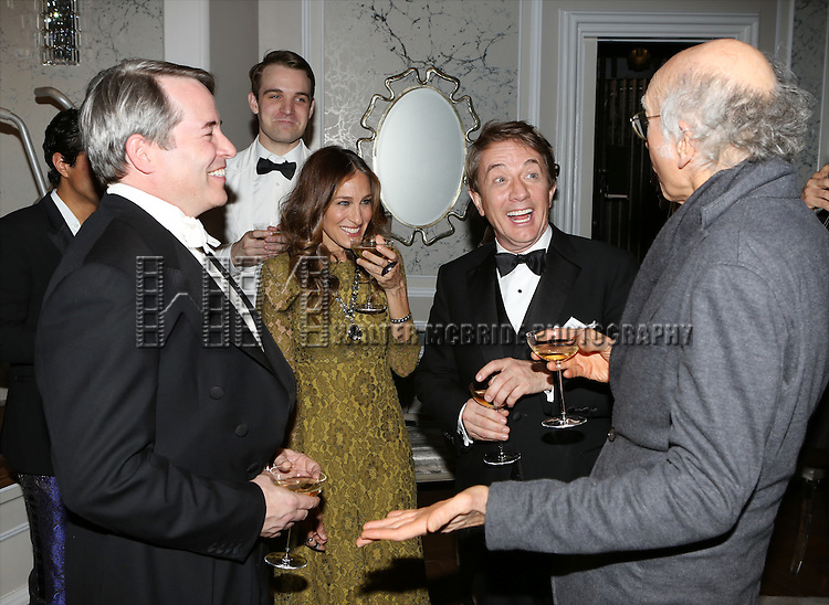 Maulik Pancholy, Matthew Broderick, Micah Stock, Sarah Jessica Parker, Martin Short and Larry David attend the re-opening night performance backstage reception for 'It's Only A Play' at the Bernard B. Jacobs Theatre on January 23, 2014 in New York City.