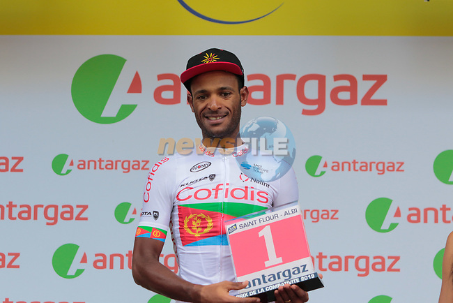 Natnael Berhane (ERI) Cofidis wins the day's combativity prize at the end of Stage 10 of the 2019 Tour de France running 217.5km from Saint-Flour to Albi, France. 15th July 2019.<br /> Picture: Colin Flockton | Cyclefile<br /> All photos usage must carry mandatory copyright credit (© Cyclefile | Colin Flockton)