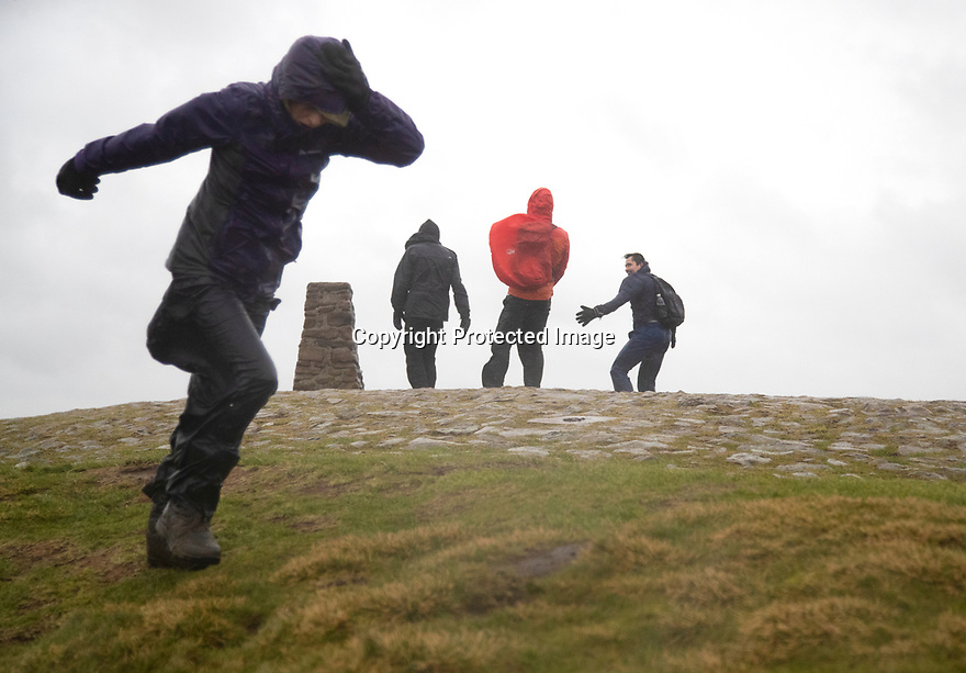15/02/120<br /> <br /> Hikers struggle to stand as 73 mph winds are recorded at the summit of Mam Tor near Castleton in the Derbyshire as Storm Dennis smashes into the Peak District<br /> <br /> All Rights Reserved: F Stop Press Ltd.  <br /> +44 (0)7765 242650 www.fstoppress.com