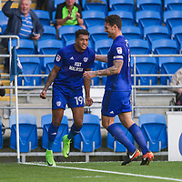 Nathaniel Mendez-Laing of Cardiff City (left) celebrates scoring his side's first goal with Sean Morrison during the Sky Bet Championship match between Cardiff City and Aston Villa at the Cardiff City Stadium, Cardiff, Wales on 12 August 2017. Photo by Mark  Hawkins / PRiME Media Images.