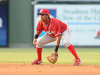 Infielder Carlos Perdomo (11) of the Lakewood BlueClaws, Class A affiliate of the Philadelphia Phillies, in a game against the Greenville Drive on July 13, 2011, at Fluor Field at the West End in Greenville, South Carolina. (Tom Priddy/Four Seam Images)
