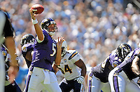Sep. 20, 2009; San Diego, CA, USA; Baltimore Ravens quarterback (5) Joe Flacco throws a pass in the first quarter against the San Diego Chargers at Qualcomm Stadium in San Diego. Mandatory Credit: Mark J. Rebilas-