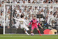 26th February 2020; Estadio Santiago Bernabeu, Madrid, Spain; UEFA Champions League Football, Real Madrid versus Manchester City; Francisco Alarcon, ISCO (Real Madrid)  scores to make it 1-0 past keeper Ederson in the 60th minute