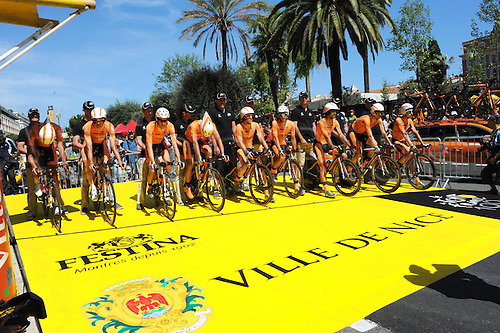 02.07.2013 Nice, France. Tour de France, Team Time Trial on stage 4 of the Tour De France from Nice. Euskaltel Euskadi 2013, Nice