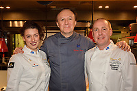 Melbourne, June 26, 2018 - MIchael Cole, Philippe Mouchel and Laura Skvor at a celebration event for Bocuse d'Or Australia team and their sponsors and supporters at Philippe Restaurant in Melbourne, Australia. Photo Sydney Low.