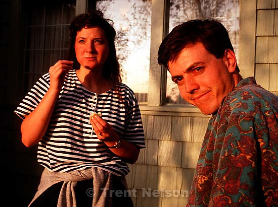 Kristy and Jamie McMahon in front of the Robinson house.  &amp;#xA;<br />