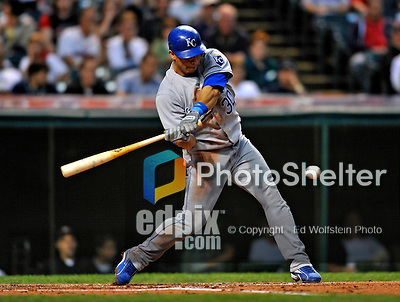 12 September 2008: Kansas City Royals' infielder Mike Aviles in action against the Cleveland Indians at Progressive Field in Cleveland, Ohio. The Indians defeated the Royals 12-5 in the first game of their 4-game series...Mandatory Photo Credit: Ed Wolfstein Photo