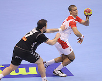 15.01.2013 Granollers, Spain. IHF men's world championship, prelimanary round. Picture show  in action during game between Tunisia vs Montenegro at Palau d'esports de Granollers