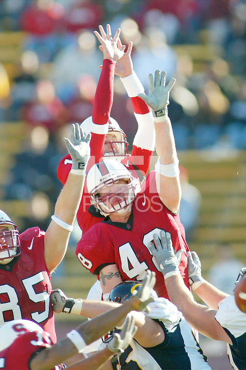 22 November 2003: Action during Stanford's game vs. California in the Big Game at Stanford Stadium in Stanford, CA.