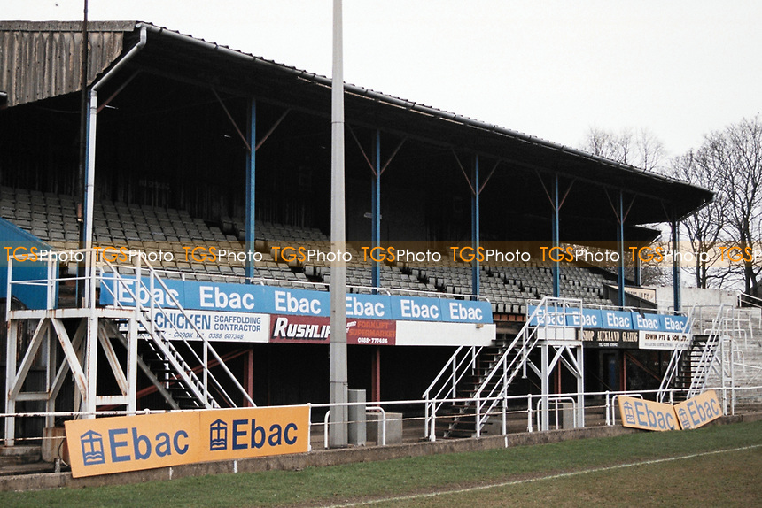 The main stand at Bishop Auckland FC Football Ground, Kingsway, Bishop Auckland, County Durham, pictured on 7th April 1996