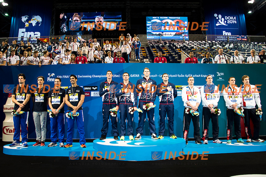 Team USA Gold Medal <br /> Team ITALY Silver Medal<br /> Team RUSSIA Bronze Medal<br /> Men's 4x200m Freestyle<br /> Doha Qatar 04-12-2014 Hamad Aquatic Centre, 12th FINA World Swimming Championships (25m). Nuoto Campionati mondiali di nuoto in vasca corta.<br /> Photo Giorgio Scala/Deepbluemedia/Insidefoto