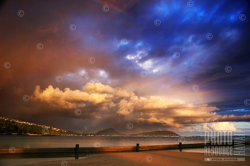 Sunset before the stormat Kahala Beach.
