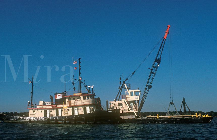 Tug Boat and Dredging Barge along the Detroit River
