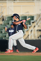 Damek Tomscha (14) of the Lakewood BlueClaws follows through on his swing against the Kannapolis Intimidators at Kannapolis Intimidators Stadium on August 11, 2016 in Kannapolis, North Carolina.  The Intimidators defeated the BlueClaws 3-1.  (Brian Westerholt/Four Seam Images)
