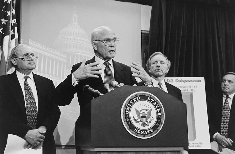 Sen. John Herschel Glenn, D-Ohio, Senate Committee on Governmental Affairs Chairman, talking at a press conference. May 22, 1997 (Photo by CQ Roll Call)