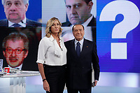Myrta Merlino e Silvio Berlusconi <br /> Roma 18/01/2018. Trasmissione tv La7 'L'aria che tira'.<br /> Rome January 18th 2018. Silvio Berlusconi appears as a guest on the talk show ''L'aria che tira' in Rome<br /> Foto Samantha Zucchi Insidefoto
