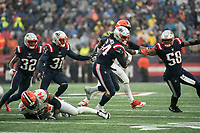 FOXBOROUGH, MA - OCTOBER 27: New England Patriots Linebacker Dont'a Hightower #54 turns to run toward the Browns end zone after a fumble recovery during a game between Cleveland Browns and New Enlgand Patriots at Gillettes on October 27, 2019 in Foxborough, Massachusetts.