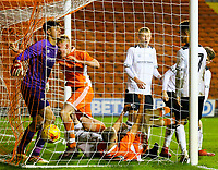Blackpool's Owen Watkinson bundles the ball into the net to make the score 1-2<br /> <br /> Photographer Alex Dodd/CameraSport<br /> <br /> The FA Youth Cup Third Round - Blackpool U18 v Derby County U18 - Tuesday 4th December 2018 - Bloomfield Road - Blackpool<br />  <br /> World Copyright © 2018 CameraSport. All rights reserved. 43 Linden Ave. Countesthorpe. Leicester. England. LE8 5PG - Tel: +44 (0) 116 277 4147 - admin@camerasport.com - www.camerasport.com
