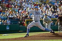 UCLA starting pitcher Rob Rasmussen in Game Two of the NCAA Division One Men's College World Series Finals on June 29th, 2010 at Johnny Rosenblatt Stadium in Omaha, Nebraska.  (Photo by Andrew Woolley / Four Seam Images)