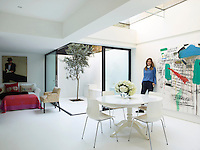 TV presenter Trinny Woodall in the open plan living/dining area of her London home