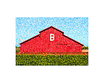 Red barn with the letter B in California's San Joaquin Valley