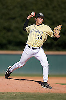 Pitcher Joel Ernst (34) of the Wake Forest Demon Deacons in action versus the Clemson Tigers during the second game of a double header at Gene Hooks Stadium in Winston-Salem, NC, Sunday, March 9, 2008.