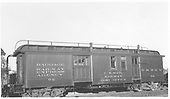#62 baggage &amp; mail car (38' 6&quot; length) at Antonito.  Handrail on roof.<br /> D&amp;RGW  Antonito, CO  Taken by Maxwell, John W. - 7/2/1941