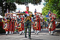 Royal Guard at Ballater. The Queen's Royal Guard enters Ballater Highland Games. <br />