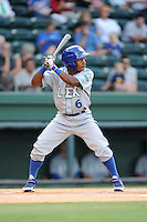 Outfielder Terrance Gore (6) of the Lexington Legends in a game against the Greenville Drive on Monday, August 19, 2013, at Fluor Field at the West End in Greenville, South Carolina. Lexington won, 5-1. (Tom Priddy/Four Seam Images)