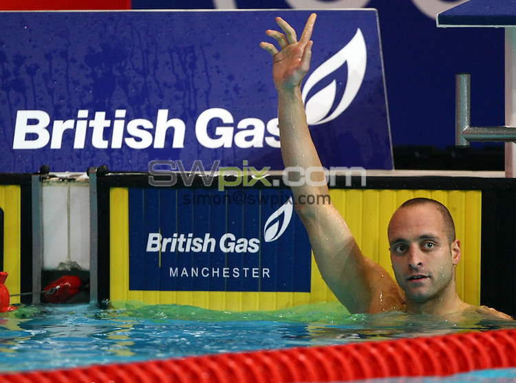 PICTURE BY VAUGHN RIDLEY/SWPIX.COM...Swimming - British Gas Swimming Championships 2011, Day 6 - Manchester Aquatics Centre, Manchester, England - 10/03/11...James Goddard wins Gold in the Mens 200m Backstroke Final.