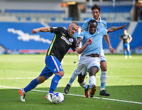Jiri Skalak of Brighton & Hove Albion (left) and Jordan Lukaku of Lazio (right) during the Friendly match between Brighton and Hove Albion and Lazio at the American Express Community Stadium, Brighton and Hove, England on 31 July 2016. Photo by Edward Thomas / PRiME Media Images.