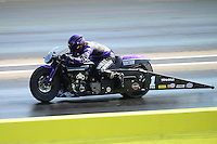 Sept. 22, 2012; Ennis, TX, USA: NHRA pro stock motorcycle rider Eddie Krawiec during qualifying for the Fall Nationals at the Texas Motorplex. Mandatory Credit: Mark J. Rebilas-