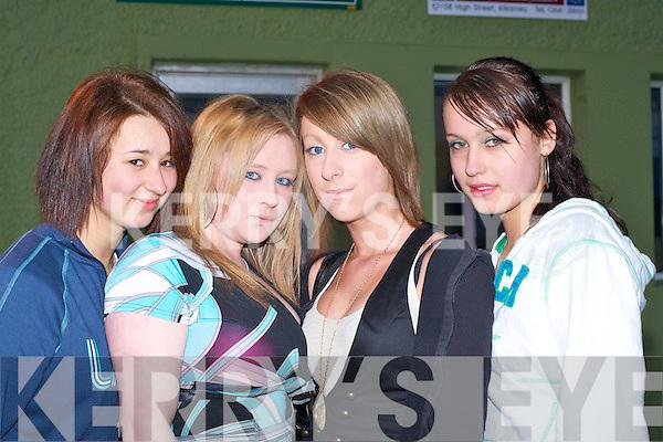 Enjoying themselves at the Teenage Partynite disco in Killarney Racecourse on Friday night were l-r: Simona Kostik, Jessie Sugrue, Karen Murphy and Evelinn Kalka......   Copyright Kerry's Eye 2008