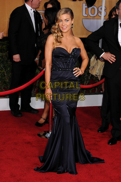 Carmen Electra.Arrivals at the 19th Annual Screen Actors Guild Awards at the Shrine Auditorium in Los Angeles, California, USA..27th January 2013.SAG SAGs full length dress blue silk satin strapless hand on hip.CAP/ADM/BP.©Byron Purvis/AdMedia/Capital Pictures