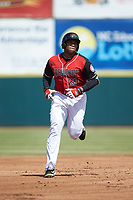 Curtis Terry (29) of the Hickory Crawdads rounds the bases after hitting a home run against the Lakewood BlueClaws at L.P. Frans Stadium on April 28, 2019 in Hickory, North Carolina. The Crawdads defeated the BlueClaws 10-3. (Brian Westerholt/Four Seam Images)
