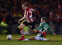 Lincoln City's Harry Anderson battles with Yeovil Town's Tom James<br /> <br /> Photographer Andrew Vaughan/CameraSport<br /> <br /> The EFL Sky Bet League Two - Lincoln City v Yeovil Town - Friday 8th March 2019 - Sincil Bank - Lincoln<br /> <br /> World Copyright © 2019 CameraSport. All rights reserved. 43 Linden Ave. Countesthorpe. Leicester. England. LE8 5PG - Tel: +44 (0) 116 277 4147 - admin@camerasport.com - www.camerasport.com