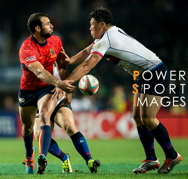 Spain vs South Korea during the HSBC Sevens Wold Series Qualifier  Quarter Finals match as part of the Cathay Pacific / HSBC Hong Kong Sevens at the Hong Kong Stadium on 28 March 2015 in Hong Kong, China. Photo by Xaume Olleros / Power Sport Images