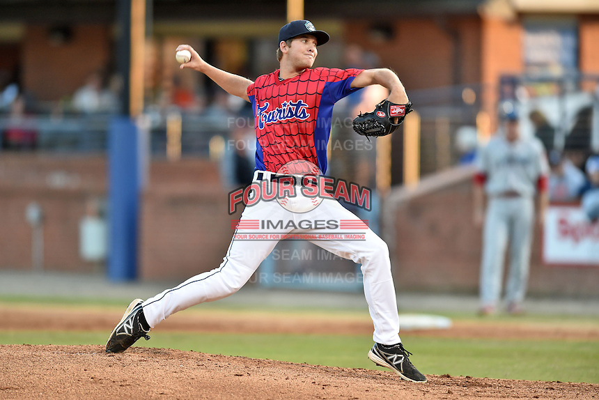 Asheville Tourists starting pitcher Konner Wade #11 delivers a pitch during a game against the Lakewood BlueClaws at McCormick Field on May 2, 2014 in Asheville, North Carolina. The Tourists defeated the BlueClaws 14-3. (Tony Farlow/Four Seam Images)
