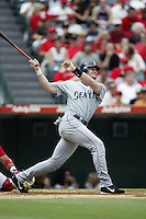 Ben Davis of the Seattle Mariners bats during a 2002 MLB season game against the Los Angeles Angels at Angel Stadium, in Los Angeles, California. (Larry Goren/Four Seam Images)