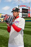 Martin Perez (45) of the Frisco RoughRiders prior to a game against the Springfield Cardinals on April 16, 2011 at Hammons Field in Springfield, Missouri.  Photo By David Welker/Four Seam Images.