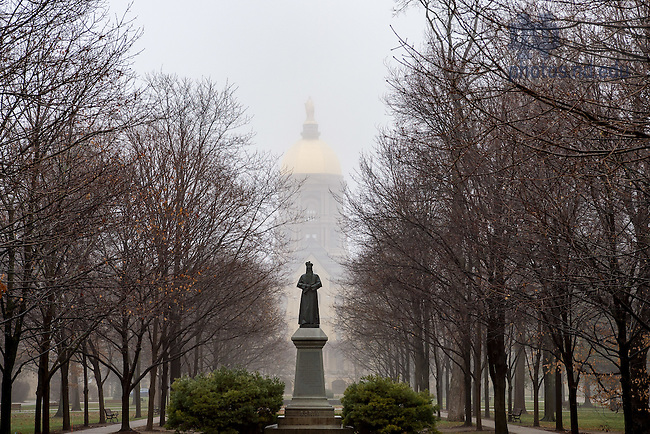 January 3, 2017; Foggy winter morning on Main Quad (Photo by Matt Cashore/University of Notre Dame)