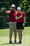 HOUSTON, TX - MAY 12: Christina Herbert of Bridgewater College and Head Coach John Rogers read a green during the Division III Women's Golf Championship held at Bay Oaks Country Club on May 12, 2017 in Houston, Texas. (Photo by Rudy Gonzalez/NCAA Photos/NCAA Photos via Getty Images)