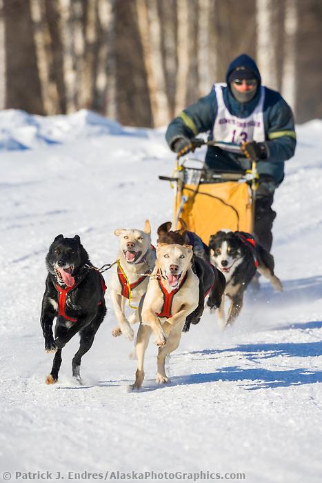 Musher Robert Gallant, 2007 Limited North American Championship Sled dog race in Fairbanks, Alaska.