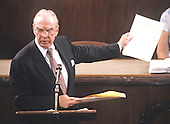 In this file photo dated May 31,1989, the Speaker of the United States House of Representatives Jim Wright (Democrat of Texas) addresses the chamber to announce his resignation from his position in the midst of an ethics investigation in the U.S. Capitol in Washington, D.C. Wright passed away at age 92 on May 6, 2015.<br /> Credit: Ron Sachs / CNP