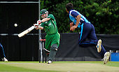 Cricket - ODI Summer Tri-Series - Scotland V Ireland at Grange CC - Edinburgh - intent of the face of Ireland bowler Paul Stirling as he dispatches Scottish bowler Safyaan Sharif for 6 over long off - Picture by Donald MacLeod - 12.07.11 - 07702 319 738 - www.donald-macleod.com