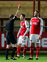 Referee Peter Wright shows Fleetwood Town's Cian Bolger the red card<br /> <br /> Photographer Alex Dodd/CameraSport<br /> <br /> The EFL Checkatrade Trophy - Northern Group B - Fleetwood Town v Leicester City U21 - Tuesday September 11th 2018 - Highbury Stadium - Fleetwood<br />  <br /> World Copyright &copy; 2018 CameraSport. All rights reserved. 43 Linden Ave. Countesthorpe. Leicester. England. LE8 5PG - Tel: +44 (0) 116 277 4147 - admin@camerasport.com - www.camerasport.com