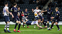 Preston North End's Jayden Stockley competing with Derby County's Richard Keogh in the penalty area <br /> <br /> Photographer Andrew Kearns/CameraSport<br /> <br /> The EFL Sky Bet Championship - Preston North End v Derby County - Friday 1st February 2019 - Deepdale Stadium - Preston<br /> <br /> World Copyright © 2019 CameraSport. All rights reserved. 43 Linden Ave. Countesthorpe. Leicester. England. LE8 5PG - Tel: +44 (0) 116 277 4147 - admin@camerasport.com - www.camerasport.com
