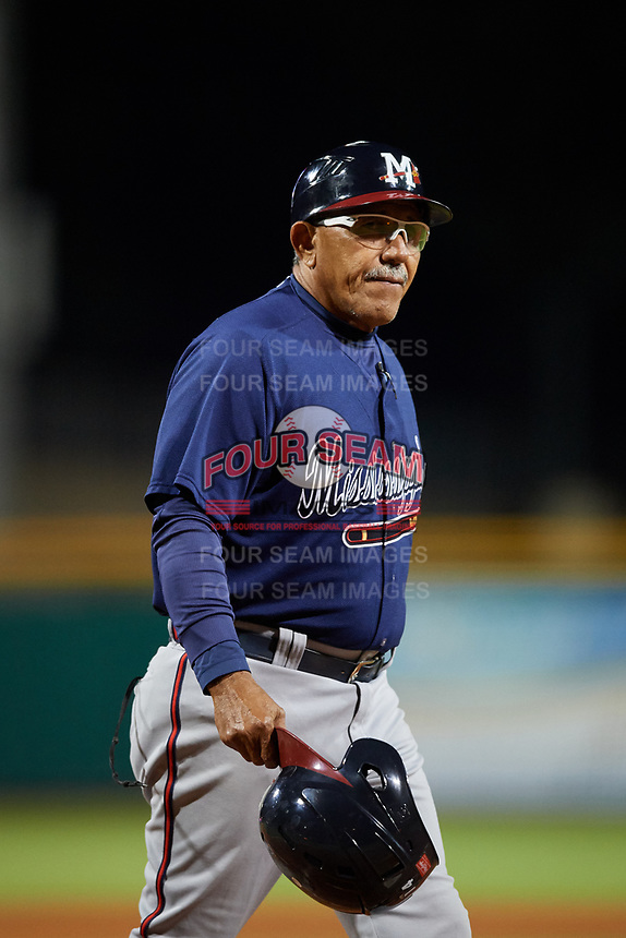 Mississippi Braves manager Luis Salazar (4) during a game against the Montgomery Biscuits on April 24, 2017 at Montgomery Riverwalk Stadium in Montgomery, Alabama.  Montgomery defeated Mississippi 3-2.  (Mike Janes/Four Seam Images)