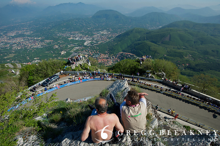 The best seat in the house--the eagles nest on top of Monteverngine Di Mercogliano.